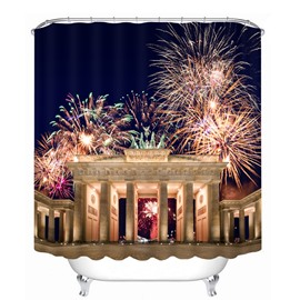 Shining Fireworks at Night 3D Printed Bathroom Waterproof Shower Curtain