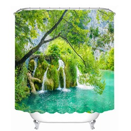 Green Moss Water in the Beautiful Nature 3D Printed Bathroom Waterproof Shower Curtain