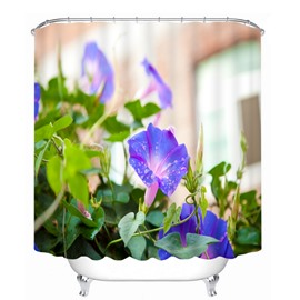 3D Purple Morning Glory Printed Polyester Shower Curtain