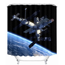 Amazing Space Satellite Station 3D Printed Bathroom Waterproof Shower Curtain