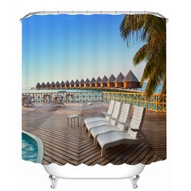 Seaside Resort in the Sunny Day 3D Printed Bathroom Waterproof Shower Curtain