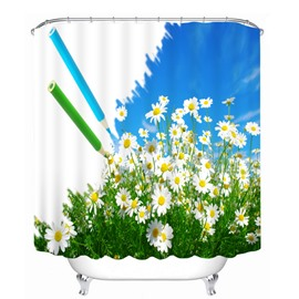 Beautiful White Flower 3D Printed Bathroom Waterproof Shower Curtain