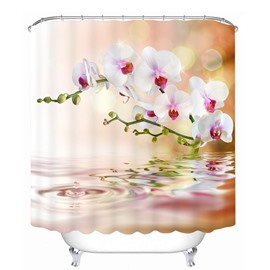 The Pink Flowers on the Water 3D Printed Bathroom Waterproof Shower Curtain
