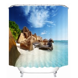 The Rock in the Beach 3D Printed Bathroom Waterproof Shower Curtain