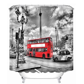 British Style Red Bus 3D Printed Bathroom Waterproof Shower Curtain
