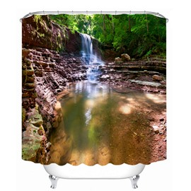Rustic Waterfalls Scenery 3D Printed Bathroom Waterproof Shower Curtain