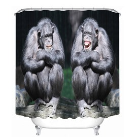 Couple Gorilla Laughing 3D Printed Bathroom Waterproof Shower Curtain