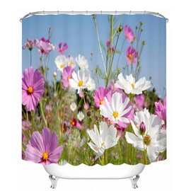 3D White and Purple Coreopsis Sea Printed Polyester Shower Curtain