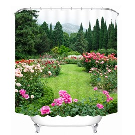 Vibrant Green Garden 3D Printed Bathroom Waterproof Shower Curtain