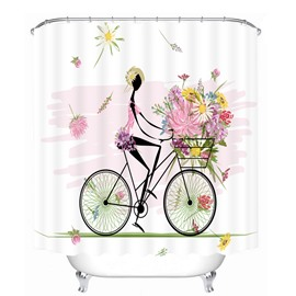 Flower Girl Riding Bike 3D Printed Bathroom Waterproof Shower Curtain