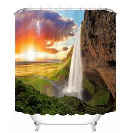 Graceful Waterfall at Dusk 3D Printed Bathroom Waterproof Shower Curtain