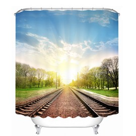 Peaceful Railway Track in the Sunny Day 3D Printed Bathroom Waterproof Shower Curtain