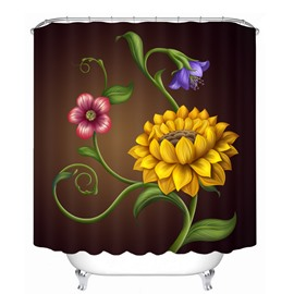 Designer Yellow Flowers 3D Printed Bathroom Waterproof Shower Curtain
