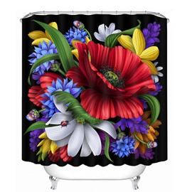 Fantastic Colored Flowers 3D Printed Bathroom Waterproof Shower Curtain