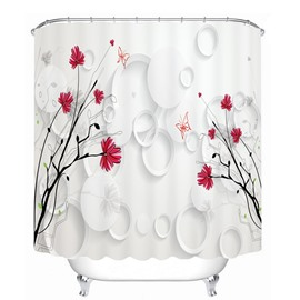 Elegant Little Red Flowers 3D Printed Bathroom Waterproof Shower Curtain