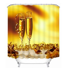 Two Cups Champagne 3D Printed Bathroom Waterproof Shower Curtain