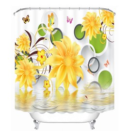 Yellow Flowers and Butterfly 3D Printed Bathroom Waterproof Shower Curtain
