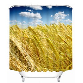 Golden Wheat Field and Blue Sky Bathroom Waterproof 3D Printed Shower Curtain