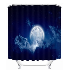 Bright Moon in the Dark Blue Sky 3D Printed Bathroom Waterproof Shower Curtain