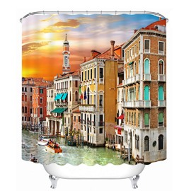 Picturesque Colored Venice 3D Printed Bathroom Waterproof Shower Curtain