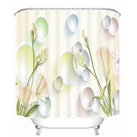 Designer Light Yellow Carnations 3D Printed Bathroom Waterproof Shower Curtain