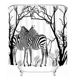 Hand Painted Zebra and Tree 3D Printed Bathroom Waterproof Shower Curtain
