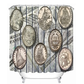 European Coins Designer 3D Printed Bathroom Waterproof Shower Curtain
