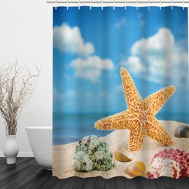 Cute Starfish 3D Printed Bathroom Waterproof Shower Curtain