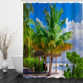 Green Coconut Tree 3D Printed Bathroom Waterproof Shower Curtain