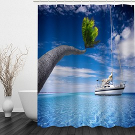 White Boat in the Sea 3D Printed Bathroom Waterproof Shower Curtain