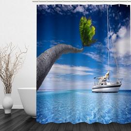 White Boat in the Sea 3D Printed Bathroom Waterproof Shower Curtain
