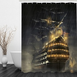 Retro Warships in the Night 3D Printed Bathroom Waterproof Shower Curtain