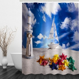 Colored Starfish and White Boat in the Beach 3D Printed Shower Curtain