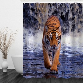 3D Walking Siberian Tiger Printed Polyester Shower Curtain