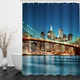Wonderful City Night 3D Printed Bathroom Waterproof Shower Curtain