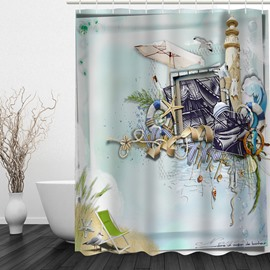 Beach Style 3D Printed Bathroom Waterproof Shower Curtain