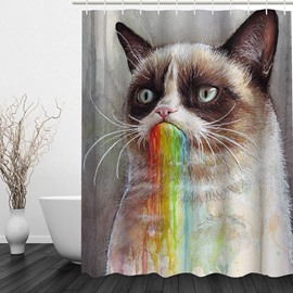Cute Cartoon Cat 3D Printed Bathroom Waterproof Shower Curtain