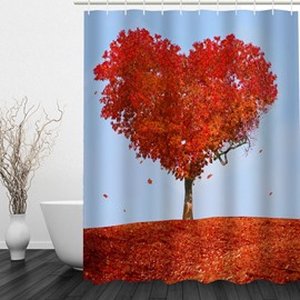Romantic Red Love Tree 3D Printed Bathroom Waterproof Shower Curtain
