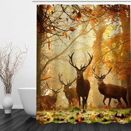 A Group of Reindeer 3D Printed Bathroom Waterproof Shower Curtain