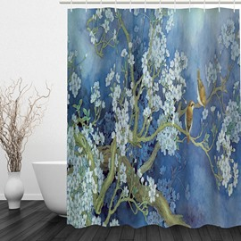 Oil Painting Flower Tree and Birds 3D Printed Bathroom Waterproof Shower Curtain