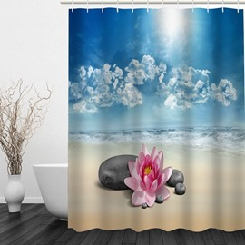 Flower and Stone in the Beach 3D Printed Bathroom Waterproof Shower Curtain