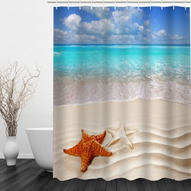 Colored Starfish in the Beach 3D Printed Bathroom Waterproof Shower Curtain