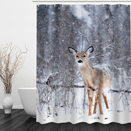 Cute Little Deer 3D Printed Bathroom Waterproof Shower Curtain