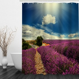 Picturesque Lavender Field 3D Printed Bathroom Waterproof Shower Curtain