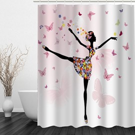 Beautiful Butterfly Dancer 3D Printed Bathroom Waterproof Shower Curtain