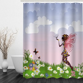 Butterfly Girl in the Flower Field 3D Printed Bathroom Waterproof Shower Curtain