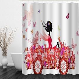 Elegant Lady in Butterfly Car 3D Printed Bathroom Waterproof Shower Curtain