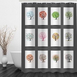 Cute Colorful Tree 3D Printed Bathroom Waterproof Shower Curtain