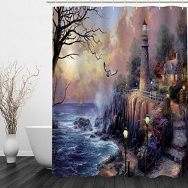 Fantastic Seaside Castle 3D Printed Bathroom Waterproof Shower Curtain