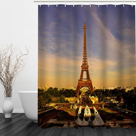 Eiffel Tower at Dusk 3D Printed Bathroom Waterproof Shower Curtain